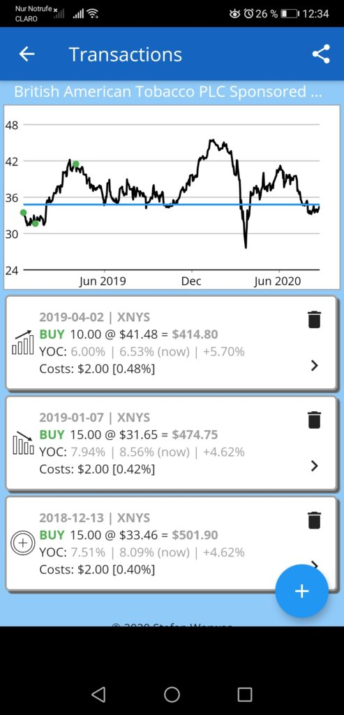 Cost averaging in the 22 Dividends app.